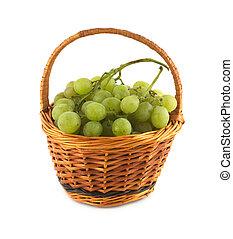 kosz, wiklina, winogrono, dojrzały, grono