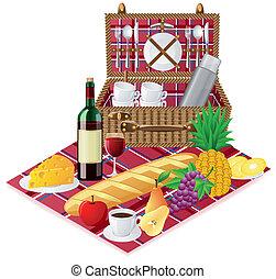 kosz, zastawa stołowa, piknik