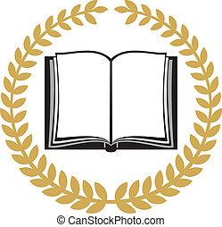koszorú, borostyán, könyv, nyílik