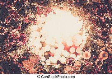 koszorú, fényes, karácsony