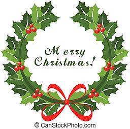 koszorú, karácsony, piros vonó