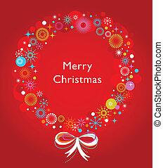 koszorú, karácsonyi üdvözlőlap, sablon