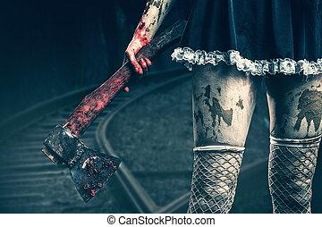 koszos, woman's kezezés, birtok, egy, véres, fejsze