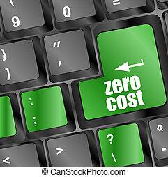koszt, guzik, zero, komputerowy klucz, klawiatura