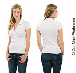 koszula, blond, polo, czysty, biały, kobieta, młody