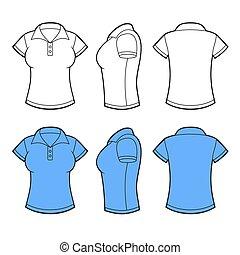 koszula, wstecz, template., bok, wektor, polo, prospekt., przód, kobiety