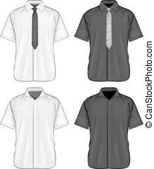 koszule, rękaw, strój, krótki