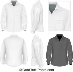 koszulowy rękaw, guzik, mężczyźni, długi, na dół