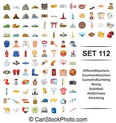 koszykówka, atrakcja, różny, set., boks, kasyno, kraj, arab, wektor, emiraty, ilustracja, hazard, reklama, góra, ikona