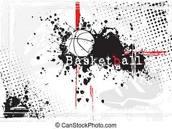 koszykówka, brudny, tło