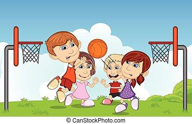 koszykówka, grający dziećmi