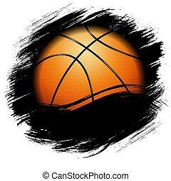 koszykówka, grunge, pomarańcza, symbol