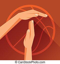 koszykówka, ilustracja, lekkoatletyka, timeout., znak, gest