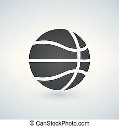 koszykówka, ilustracja, odizolowany, znak, wektor, czarne tło, ikona