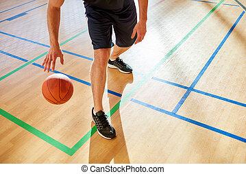 koszykówka, kapiąc, piłka, wole, człowiek