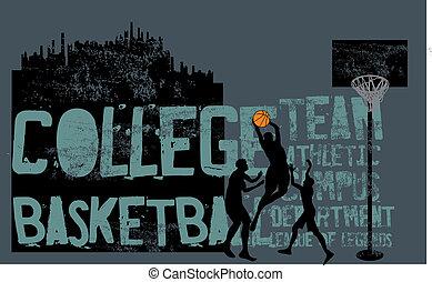 koszykówka, kolegium, wektor, sztuka, lekkoatletyka