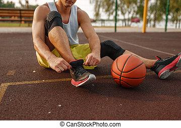 koszykówka, na wolnym powietrzu, koronki, przywiązywanie, ...