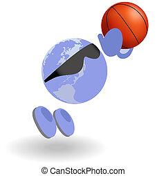 koszykówka, okrągły, człowiek