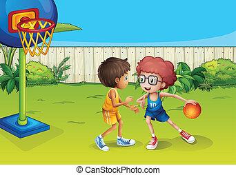 koszykówka, płot, wnętrze, dwa chłopca, interpretacja