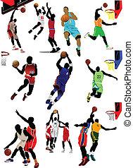 koszykówka, players., wektor, barwny