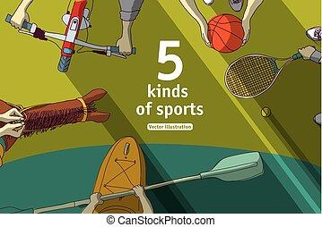 koszykówka, rower, tenis, lekkoatletyka, kajak, rodzaje, ...