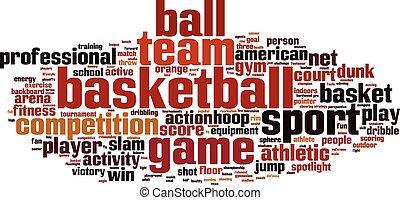 koszykówka, słowo, chmura