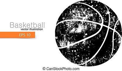koszykówka, sylwetka, ball.