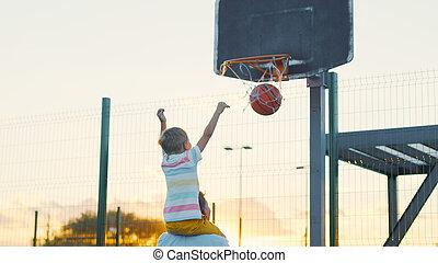 koszykówka, syn, interpretacja, ojciec