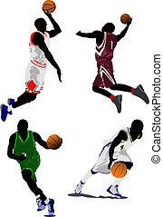 koszykówka, wektor, players., ilustracja