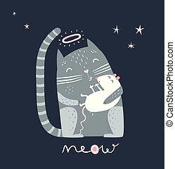 kot, mysz, pocałunek, spanie