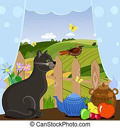 kot, oglądający ptaszkiem