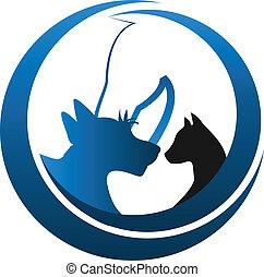 kot, pies, i, koń, logo