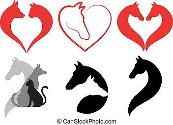 kot, pies, koń, serce, wektor, komplet