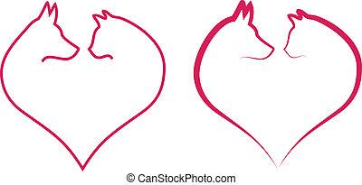 kot, serce, wektor, czerwony pies