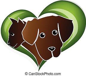 kot, sieć, serce, miłość, logo, pies