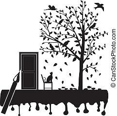 kot, wytrzeszcz, przedimek określony przed rzeczownikami, ptaszki, na, przedimek określony przed rzeczownikami, drzewo