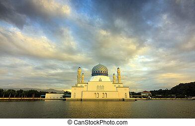 Kota Kinabalu city mosque at sunset in Sabah, Borneo,...
