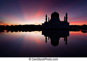 Kota Kinabalu mosque at sunrise in Sabah, East Malaysia,...