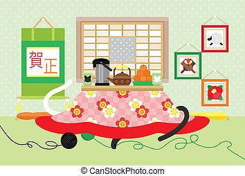 kotatsu, 中に, japanese-style, 部屋