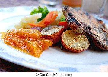 kotelett, schweinefleisch, abendessen