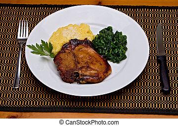 kotlet, wieprzowina, obiad