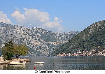 kotor, 黑山, 防波堤, 海灣, 小的船