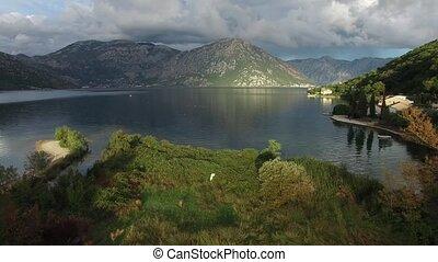Kotor Bay in Montenegro. Mountains, canyons sea
