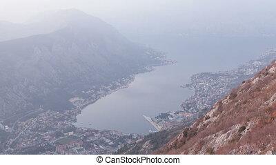 Kotor Bay on sunset - Montenegro, time lapse