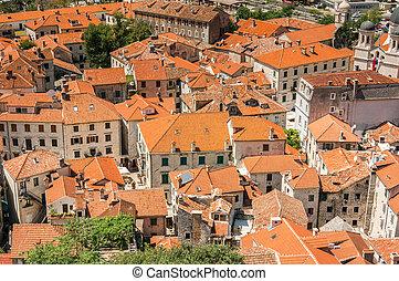 kotor, bucht, und, alte stadt, ansicht, montenegro