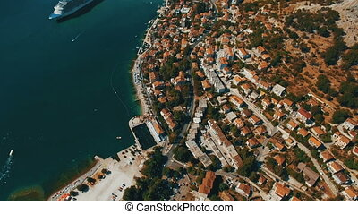 Kotor ,Montenegro. Aerial drone shoot of the old town by the sea and mountains