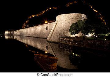 Kotor fortified wall at night