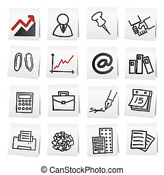 kottapapír, stickers., karikatúra, kéz, rajzol