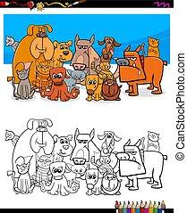 koty, koloryt książka, litery, psy