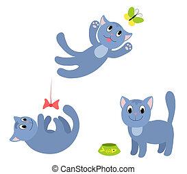 koty, komplet, szczęśliwy, 1.